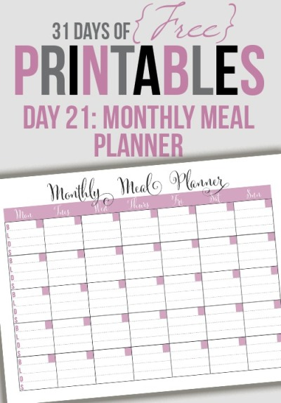 Free Monthly Menu Planner