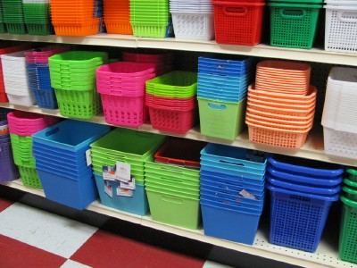 Take a trip to the dollar store for inexpensive organizing - Plastic bathroom storage containers ...