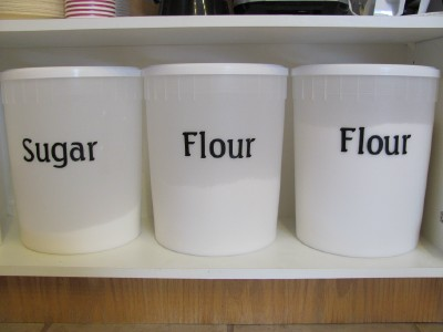 sugar and flour containers from booster juice. Black Bedroom Furniture Sets. Home Design Ideas
