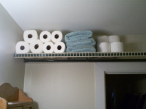 This shelf works in any small bathroom no more than 5 feet wide (the width  of a standard bath tub) or bathrooms with a closet just inside the door  which ...