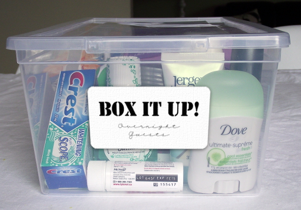 Overnight Guests Box with label