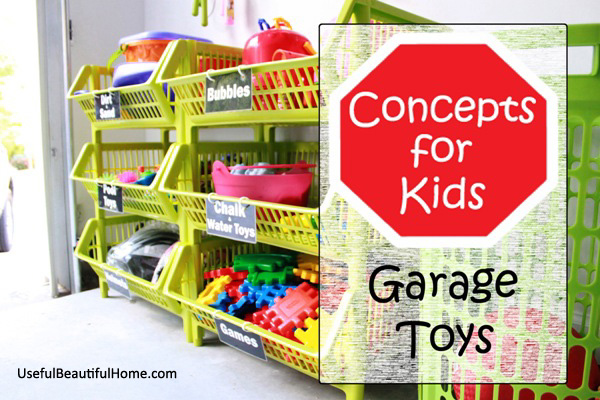 Great ideas for organizing kid's toys in the garage