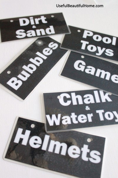 UBH Labels for Garage Toys