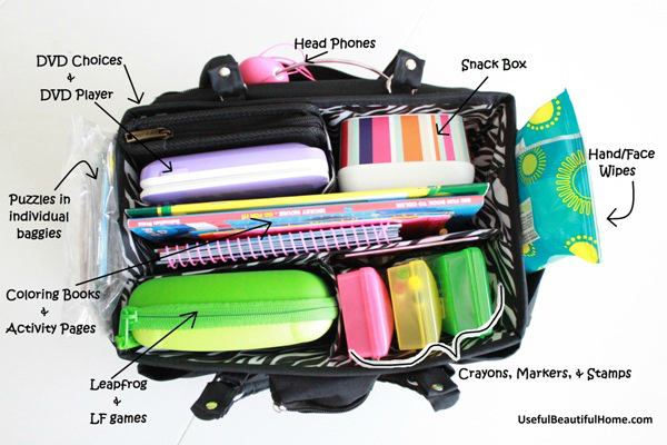 Car Busy Bag for kids with great suggestions with what to include inside