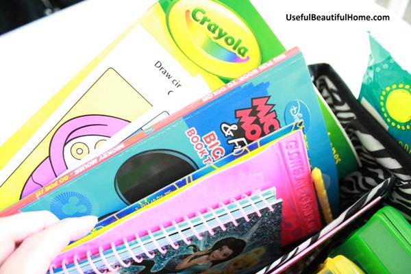 coloring and activity books inside busy bag