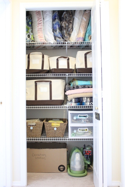 Linen closet organization plus Lands' End canvas storage totes giveaway!!