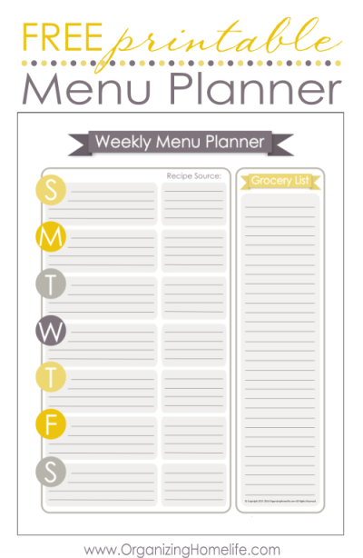 Wild image throughout menu planning printable