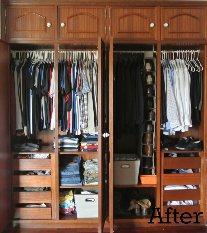 organizing his closet after
