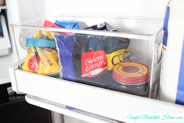 Organized bake-goods in a top freezer