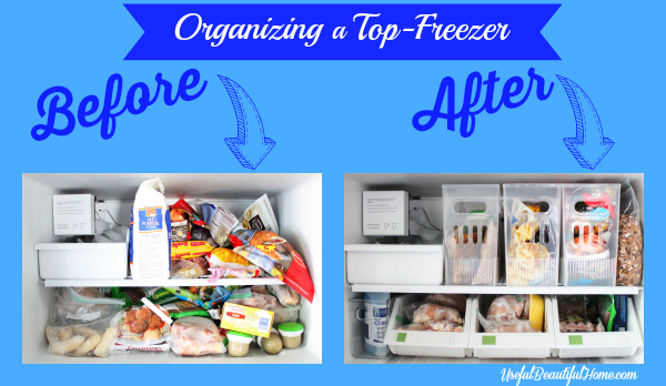 Organizing a Top-Freezer before and after