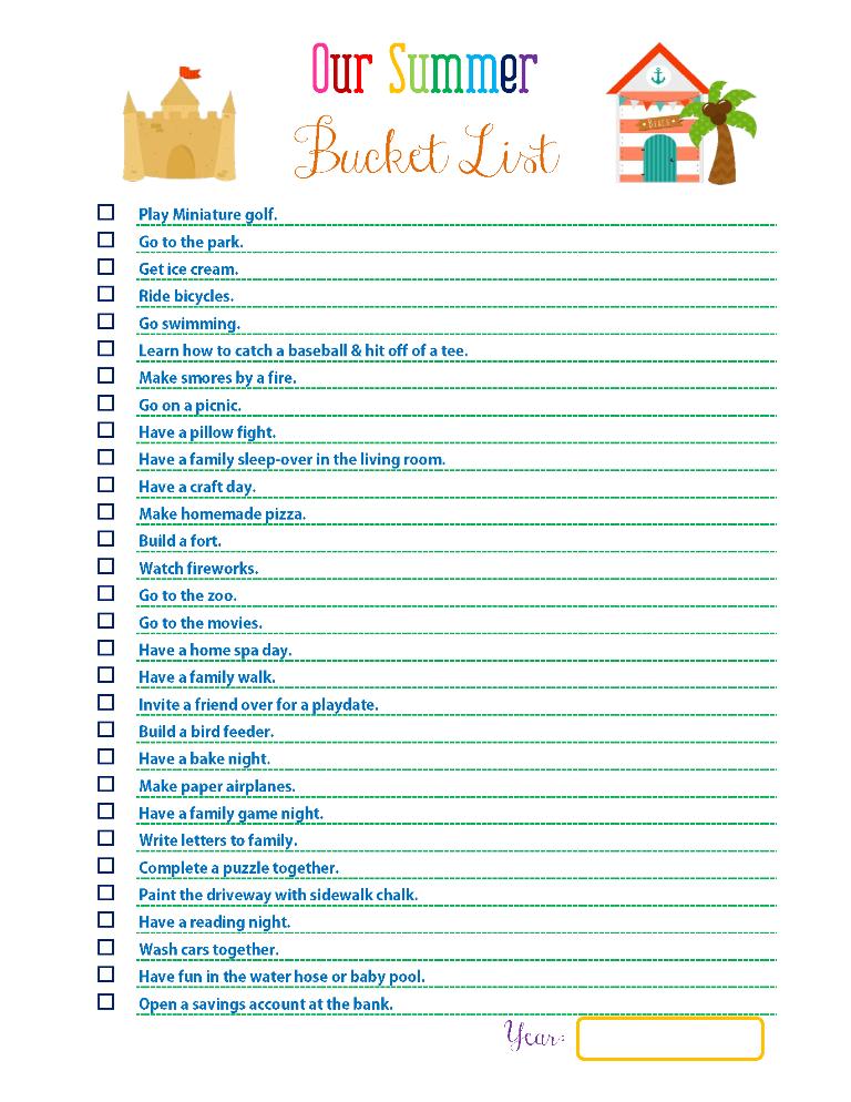 creating a summer bucket list