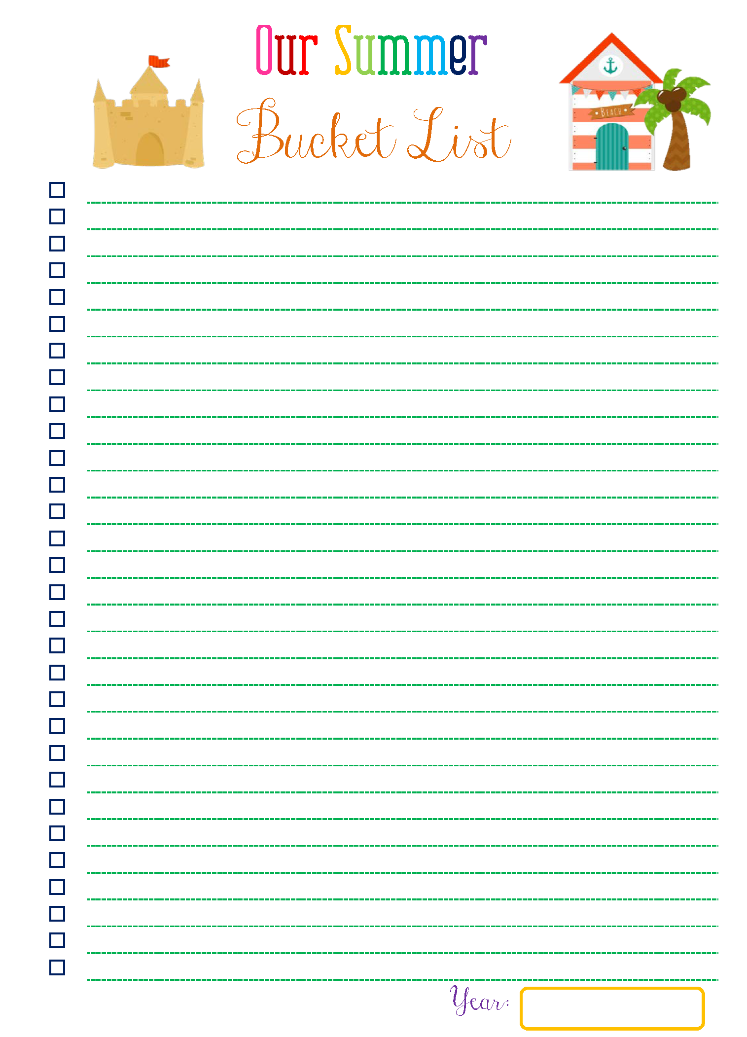 photo relating to Bucket List Printable Template titled Acquiring a Summer season Bucket Listing