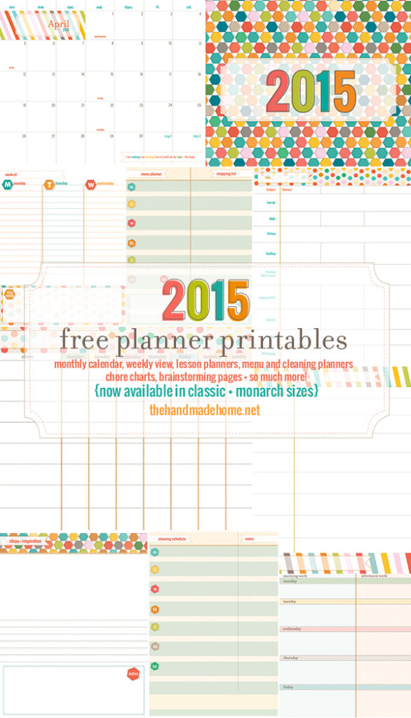 ... these awesome Free Planner Printables for 2015 ~ @ The Handmade Home