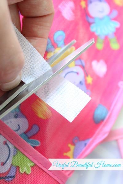 Sticky-back Velcro easy to cut for organizing toddler bibs