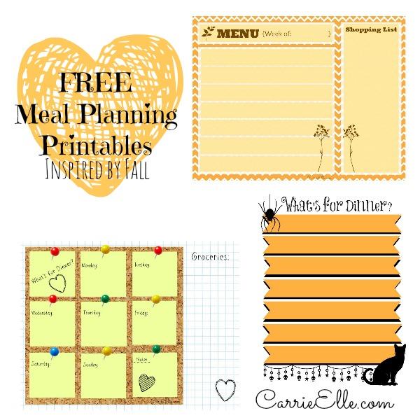 Free Fall Menu Planning Printables