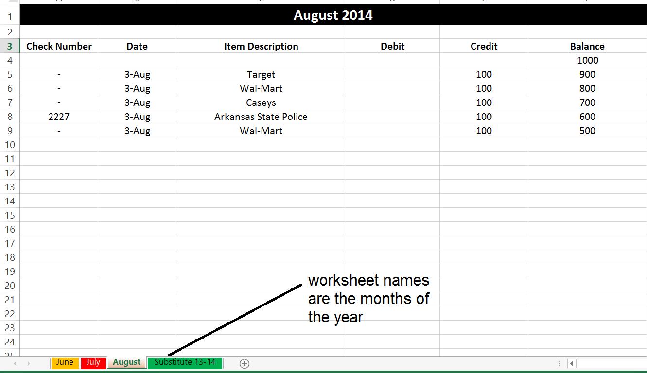 Checking Account Organization – Check Register Worksheet
