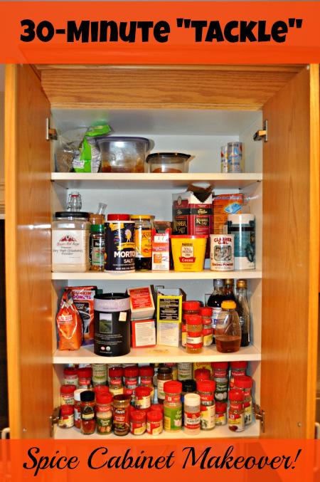 Quick Organizing Tasks:  Spice Cabinet Makoever