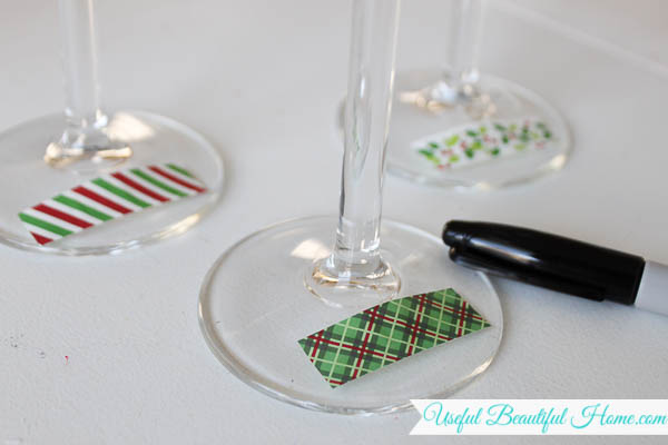 Use this easy idea for stemware labels at the next get together!