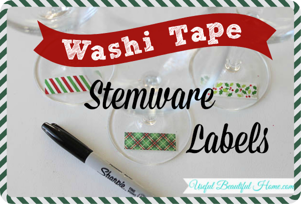 Use washi tape and a marker for stemware labels this holiday season - such a simple idea!