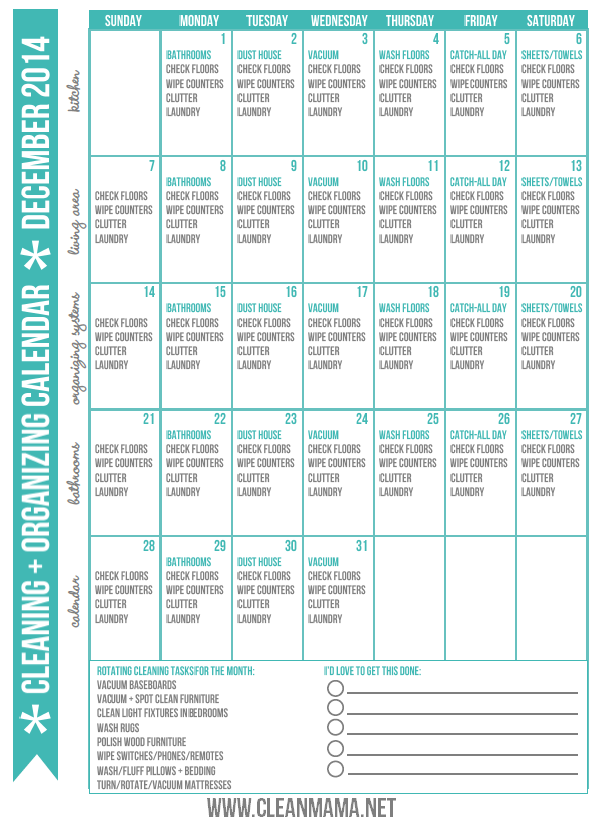 Need some help staying on top of the daily chores in December? Print ...