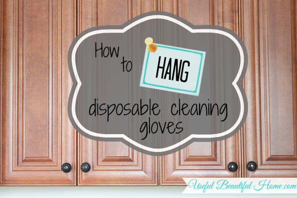 Using the inside of cabinet doors to hang a box of disposable cleaning gloves