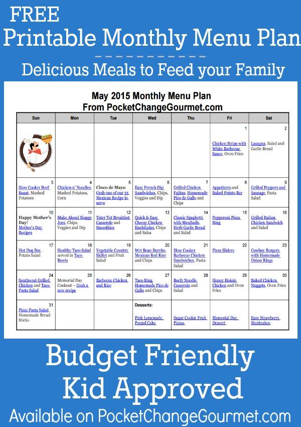 Menu Plan Monday May 4 15