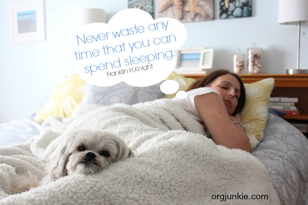 Never waste any time that you can spend sleeping