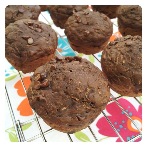 Double Chocolate & Greek Yogurt Zucchini Muffins