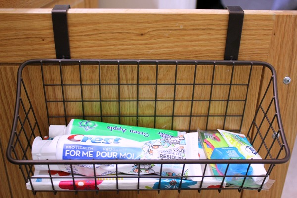Create a bathroom drawer using an over the door organizer