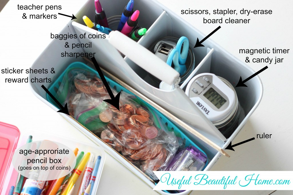 How to set up a homework supply caddy