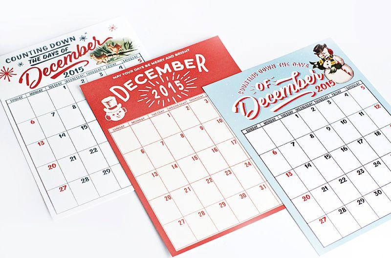 December 2015 Calendars