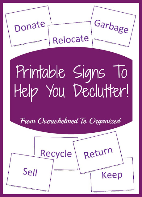 Printable Signs to help you Declutter