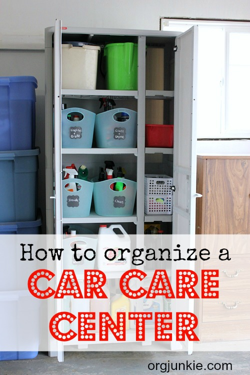 How to Organize a Car Care Center with the Keter Optima Utility Cabinet at I'm an Organizing Junkie blog