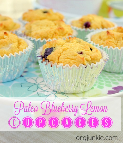 Paleo Blueberry Lemon Cupcakes at I'm an Organizing Junkie blog