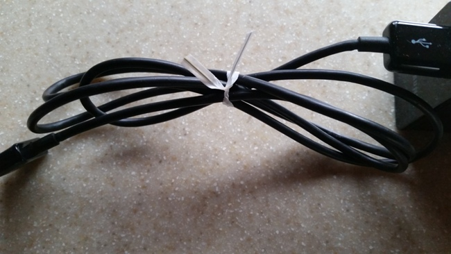 use a twist tie for cords