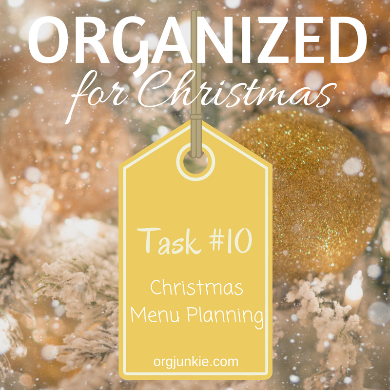Organized for Christmas: Task #10 Christmas Menu Planning at I'm an Organizing Junkie