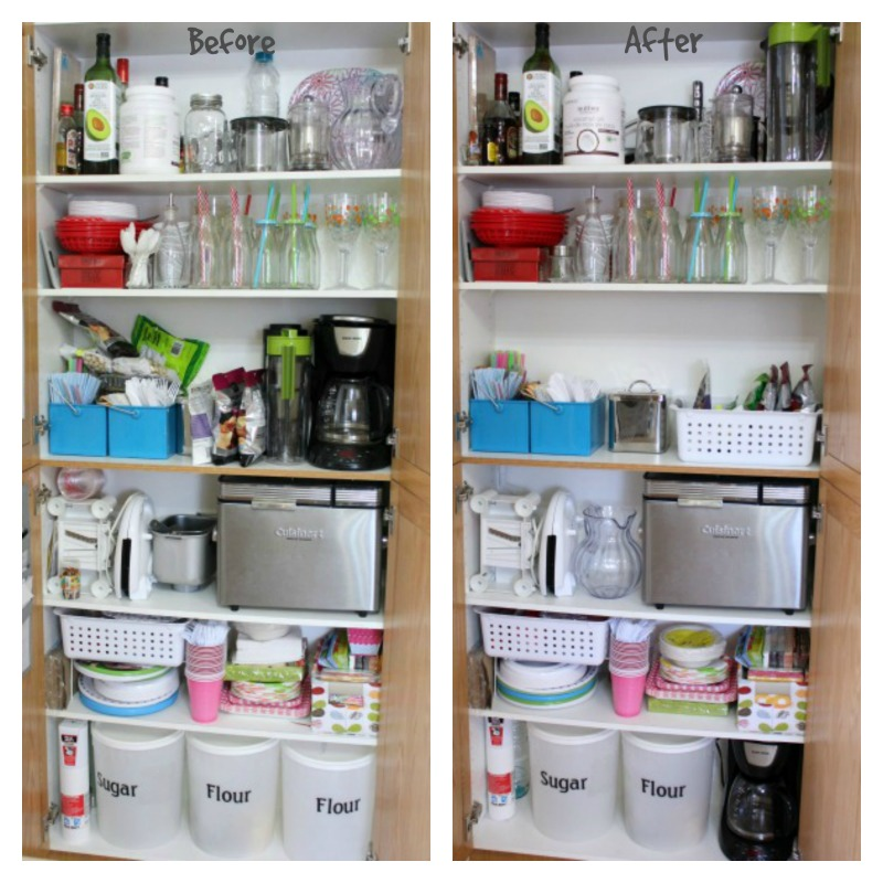 Kitchen storage before and after at I'm an Organizing Junkie blog