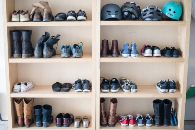The Second Set Of Shelves Which Are Closer To Our Garage Door Entry Used Primarily For Shoes My Hubby And I Each Have Two Kids