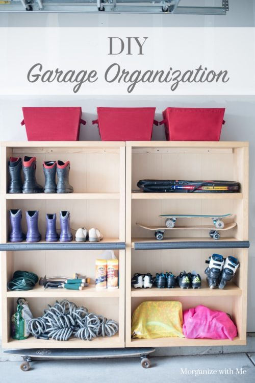 We put two shelves together on one end of the wall and the other two  shelves on the other end of the wall  They end up making one long row with  a. DIY Garage Organization at I m an Organizing Junkie blog